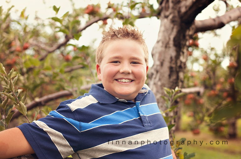 third grade boy at apple hill orchard