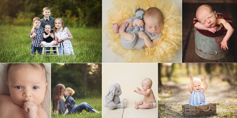Collage of newborn and children photography