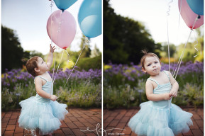 one year old girl with balloons