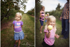 family at apple orchard