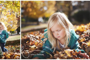 little girls playing in leaves