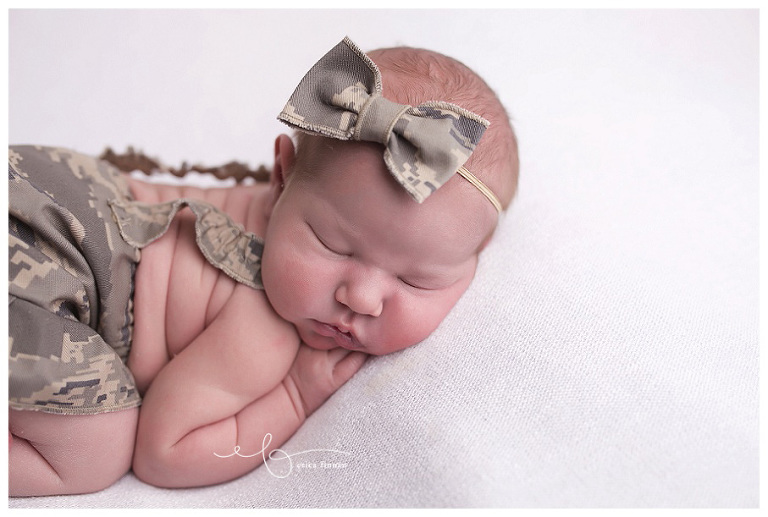 Mansfield ohio newborn photography, close up of newborn girl in air force outfit